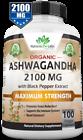NaturaLife Labs 1300mg Organic Ashwagandha Vegan Capsules - 100 Pieces