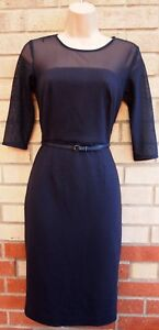 NEXT-QUILTED-NAVY-BLUE-MESH-BELTED-TUBE-PENCIL-BODYCON-FORMAL-WORK-DRESS-6-XS