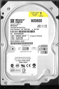 WESTERN DIGITAL WD800BB-19JHC0 80GB IDE HD DATE 03 OCT 2005 DCM HSCHCTJAH CAVIAR