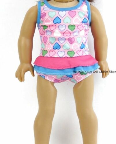Ruffle Heart Print 1 Piece Swim Suit 18 in Doll Clothes Fits American Girl