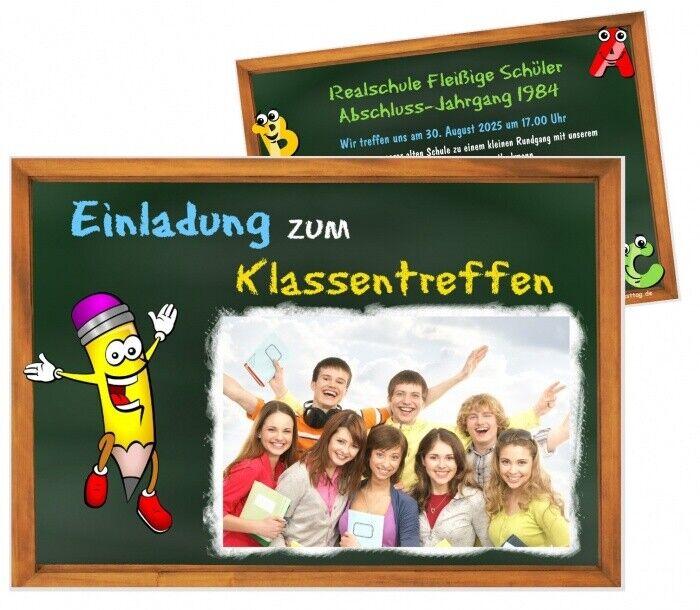 Einladungskarten für Klassentreffen, mit Ihrem Wunschtext, für jede Schule TOP