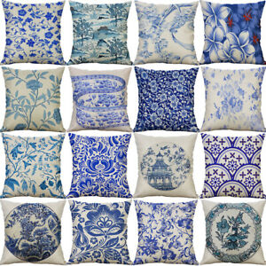 18-034-Blue-And-White-Cotton-linen-Painting-Pillow-Case-Cushion-Cover-Home-Decor