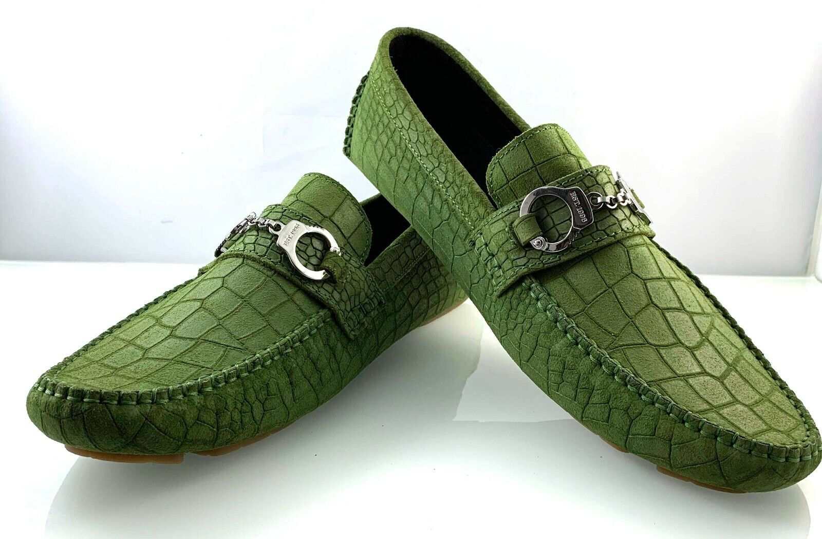 JIMMY CHOO MENS SUEDE LEATHER GREEN HANDCUFF LOAFER SHOES size 42