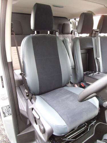 MID GREY LEATHERETTE 142 FORD TRANSIT CUSTOM 2016 VAN SEAT COVERS BESPOKE