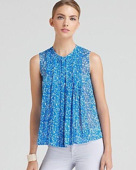 DVF Diane Von Furstenberg ISREAL Silk Blouse Top Fleck Blau