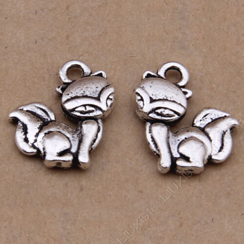 20pc Tibetan Silver Fox Animal Pendant Bracelet Charms Jewelry Accessories PJ798
