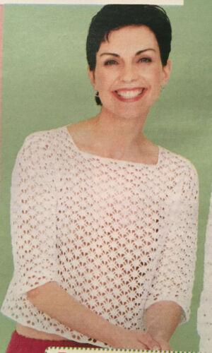 Patrón de ganchillo suéter señoras Shell Jacket Encaje Tunc Diamond Top Rowan DK