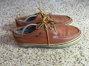 vans laced leather moccasins casual work brown shoes sz