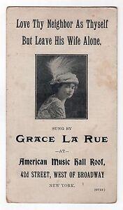 Rare 1910s Grace la Rue Broadway Ad Carte American Music Hall Toit Love Voisin P9BwQyfr-09152904-305411165