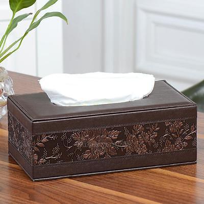 Durable Home Car PU Leather Tissue Box Cover Napkin Paper Holder Case Organizer