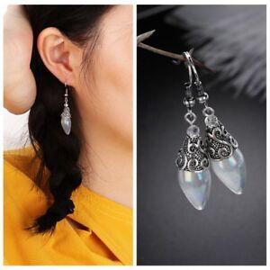 Frauen-925-Silber-vergoldet-Regenbogen-Mondstein-Ohrring-lange-Dangle-Ear-Studs