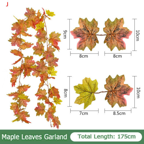 180CM Artificial Autumn Fall Maple Leaves Garland Hanging Plant Home Decor XMAS