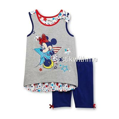 NWT Disney Minnie Mouse Tank Top & Shorts Set RED WHITE & BLUE Size 12 mos. $ALE