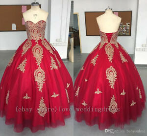 Vintage Red Gold Quinceanera Prom Dresses Gothic Pageant Party