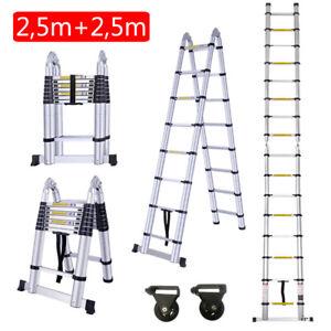 5m Alu Leiter Teleskopleiter Klappleiter Stehleiter Anlegeleiter Mehrzweckleiter