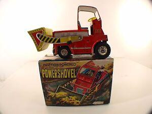 Vintage Friction Powered Tin Toy Powershovel Working Usagiya Japan Sheet Metal