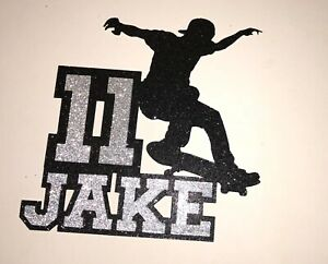 Superb Skateboard Skater Any Name Any Age Birthday Cake Topper Many Funny Birthday Cards Online Elaedamsfinfo