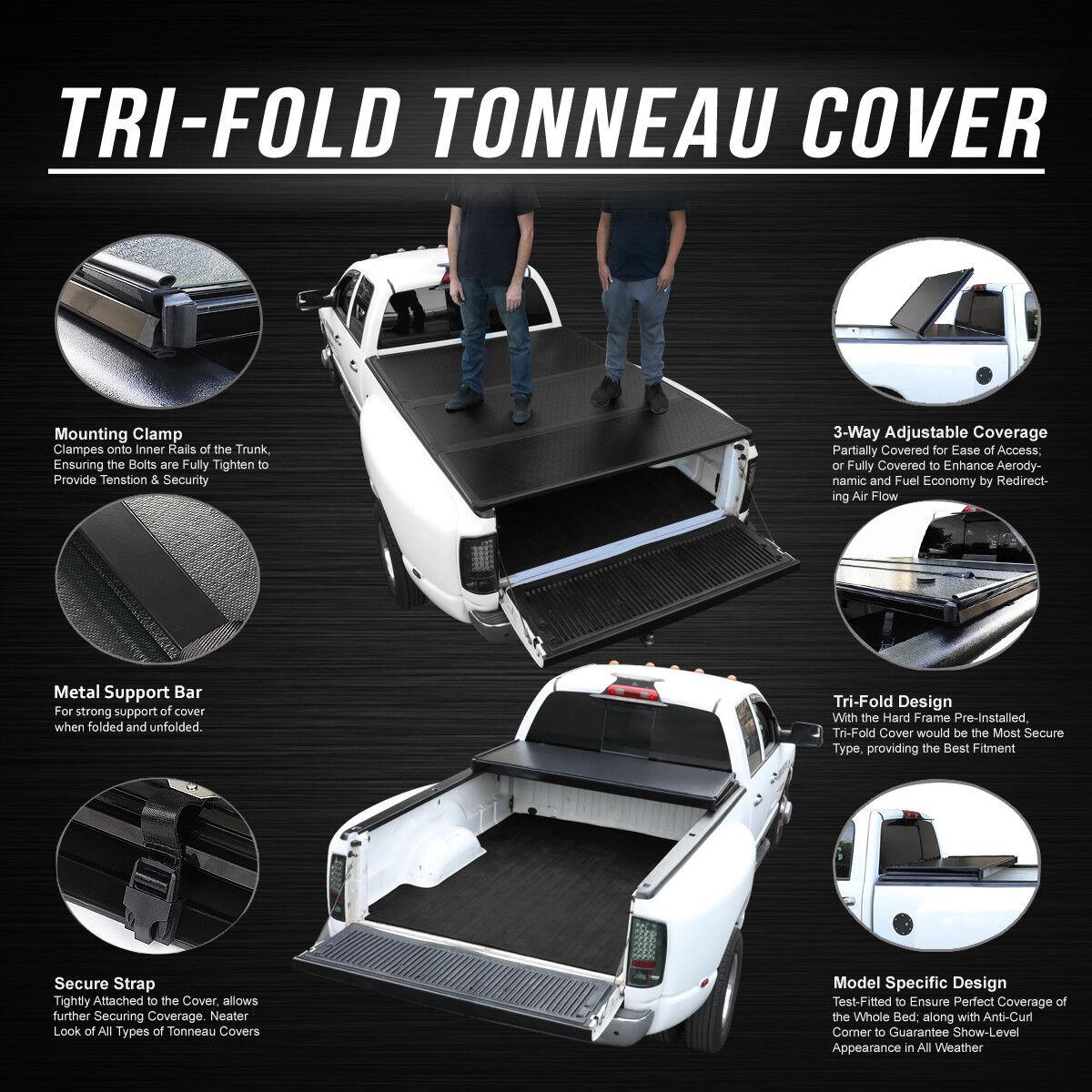 Lock Soft Tri Fold Tonneau Cover For 14 18 Gmc Sierra 5 8ft Short