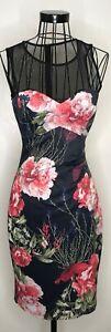 Impresionante-Karen-Millen-Negro-Rojo-Floral-Vestido-cenido-al-cuerpo-Wiggle-UK-10-carreras-de-boda