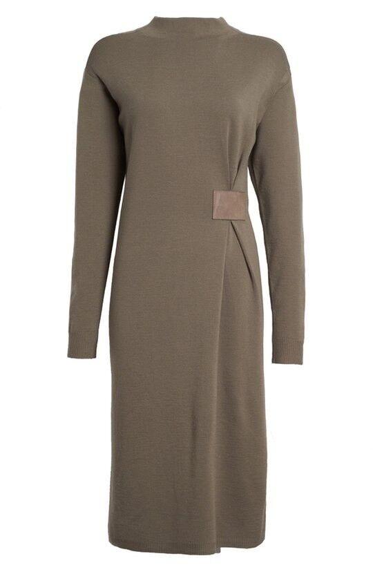 LAFAYETTE 148 NEW YORK Leather Side Tab Wool Sweater Dress Size M