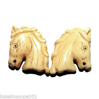 Carved Bone Horse Head Bead Small 21x24mm 2 Beads 2