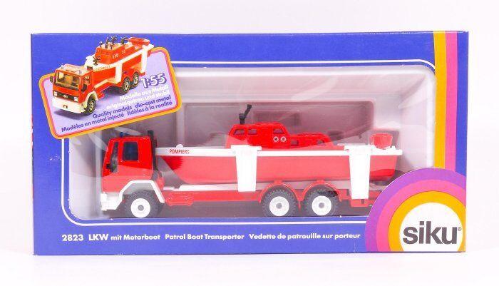 SIKU 2823 Pompiers Camion Avec Bateau (modèle à l'étranger-FRANCE POMPIER) neuf dans sa boîte