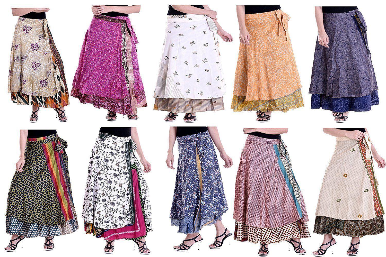 Wholesale Lot 50 Printed Reversible Indian Print Silk Sari Wrap Skirt Women Wrap
