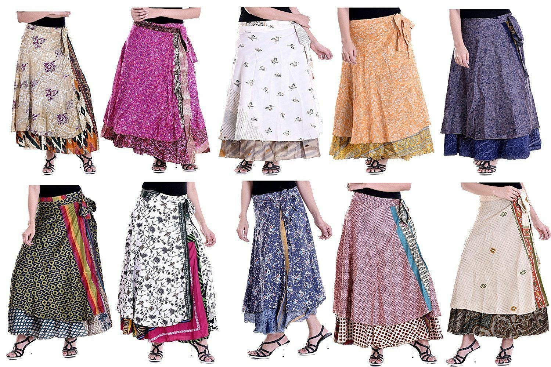 Pkonstihandel pkonsti 50 Tryckt Reversibel indisk Print Silk Sari kjol kvinnor Wrat