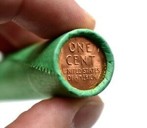 RARE-Lincoln-Wheat-Cent-Roll-Brilliant-Uncirculated-BU-Penny-on-end-MIXED-DATES