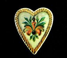 Vintage FOLK ART HEART PIN Valentine Day Brooch Fleur de Lis Leaf Fraktur Style