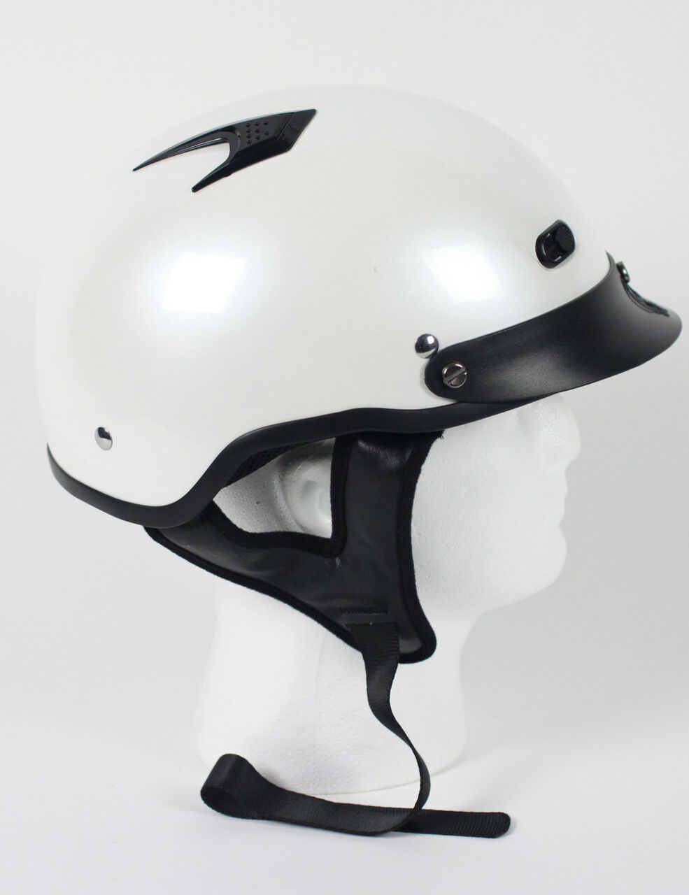 D.O.T  VENTED PEARL WHITE MOTORCYCLE HALF HELMET BEANIE HELMETS SHORTY LIGHTER  low 40% price