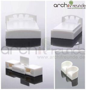 Détails sur 5er Set Modèle Chambre Lit Double + Pla +tv+2 fauteuil 1:50-87  Piste 0-h0- afficher le titre d\'origine