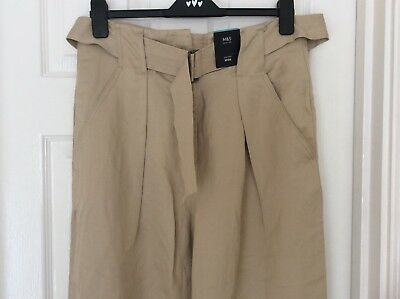 RRP £35 LADIES M/&S SIZES 16 OR 18 KHAKI COTTON BLEND CHINO STRETCH TROUSERS