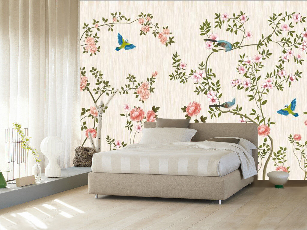 3D colord birds flowers 5 Wall Paper Wall Print Decal Wall Indoor AJ Wall Paper