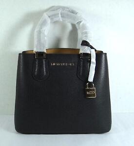 8ec9fdcf64c2 Michael Kors Adele Black Gold Pebbled Leather Medium Messenger Bag ...