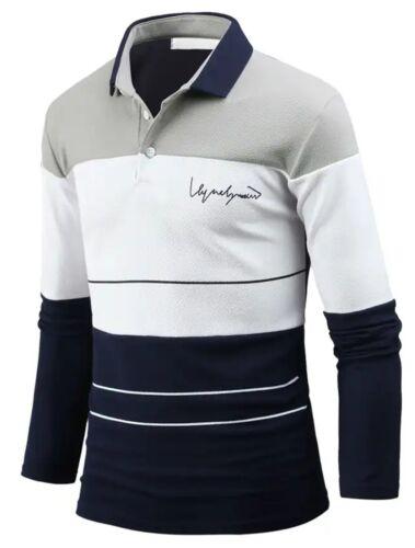 New Mens Stylish Dandy Long Sleeve T-Shirts Polo Collar PK Casual Top B22 S//M