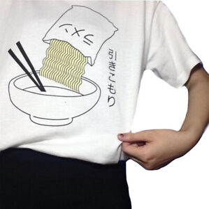 Kawaii-Clothing-Cute-T-Shirt-Harajuku-Ramen-Noodles-White-Japanese-Hikikomori