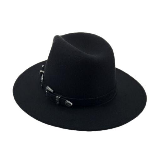 Black Fedora Large Bord Laine Fedora Avec ceinture Femmes Hommes Vintage Classique Chapeau