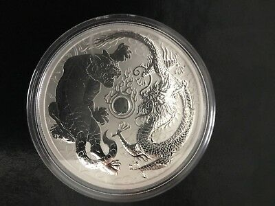 2018 Australian Dragon and Tiger Blue Colorized 1oz .999 Ennobling Silver Coin