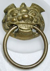 Vintage Figural Brass Asian Grinning Foo Dog Ring Drawer