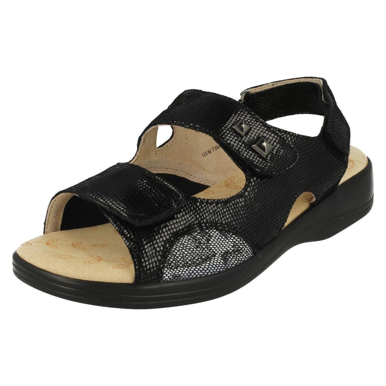 PADDERS Gemstone Ladies Dual 3E   4E Fit Leather Touch Fasten Stretch Panel Sandal  spedizione veloce e miglior servizio