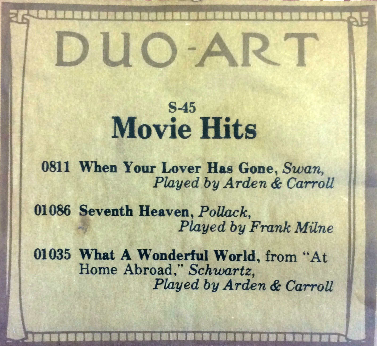 DUO-ART ReCut MOVIE HITS PROGRAM S-45 Large 3-Selection Player Piano Roll