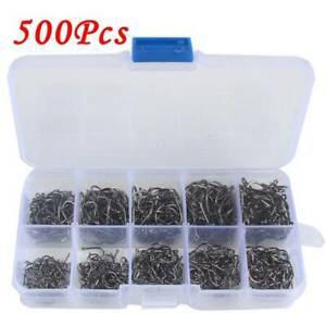 500pcs-Carbon-Steel-Black-Fish-Jig-Hooks-with-Hole-Fishing-Tackle-Box-10-Sizes