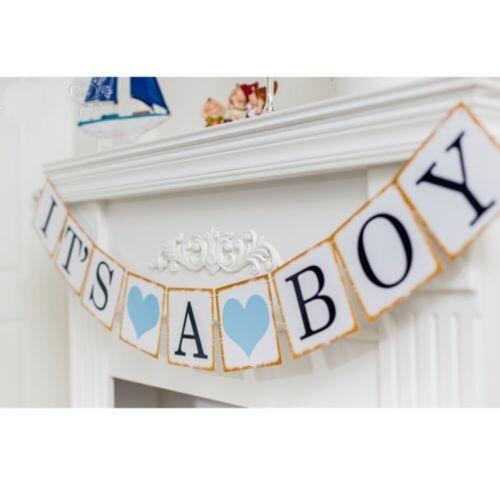 Its A Boy Girl Papier Dusche Banner Girlanden Kinder Geburtstagsfeier #E0Y