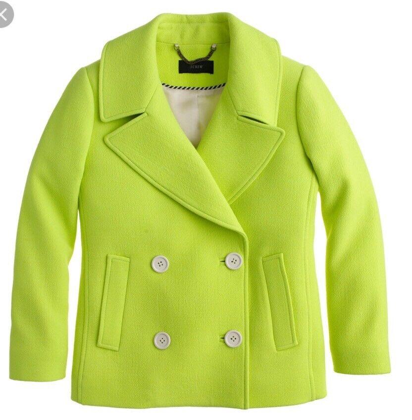 Nuevo  con etiquetas Chaqueta Lana Chaquetón J Crew colección  278 Bright Kiwi Talla 0  moda clasica