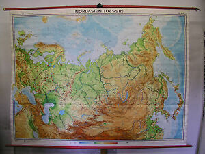 Schulwandkarte Europa Russia Ukraine North Asian Half World Map 1970
