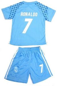 2cb1d9fab Real Madrid Soccer Sky Blue Jersey   Shorts Ronaldo   7 Uniform Kids ...
