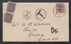 Canada 1930s 2c Postage Due Pair Incoming Cover South Africa to Orillia
