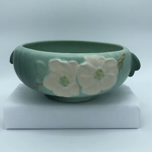 Antique Weller Bowl Dogwood Flower Design Light Matte Green Artist Signed  W30