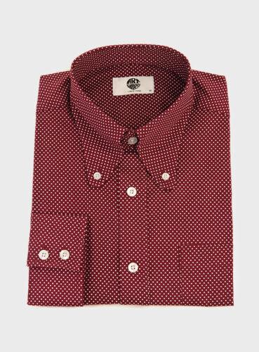 Burgundy Polka Dot Shirt Button Down Beagle Collar Slim Fit Mod 60s Art Gallery